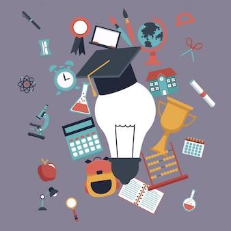 Light bulb with graduation cap and set school elements icons