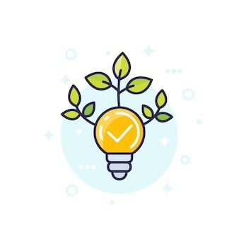 緑の葉、ベクトルアイコンと電球