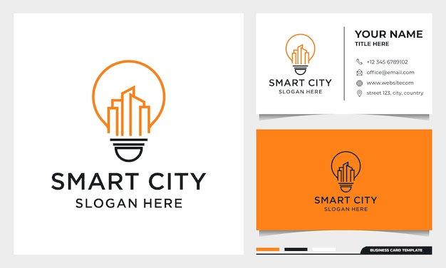 Light bulb with line art building logo design, smart city, real estate, architecture with business card template