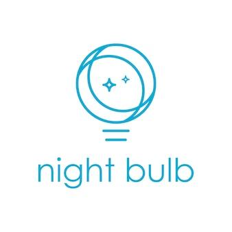 夜の月と星のシンプルで洗練されたモダンなロゴデザインの電球