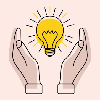 두 손 사이에 광선이 있는 전구 아이디어 영감의 개념 효과적인 생각