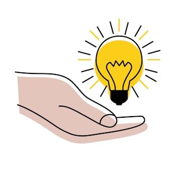 손에 광선이 있는 전구 아이디어 기호 솔루션 사고 개념 조명 전기 램프
