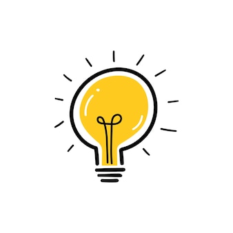 光線のある電球が輝いています。漫画のスタイル。フラットスタイル。手描きスタイル。落書きスタイル。創造性、革新、インスピレーション、発明、アイデアのシンボル。ベクトルイラスト
