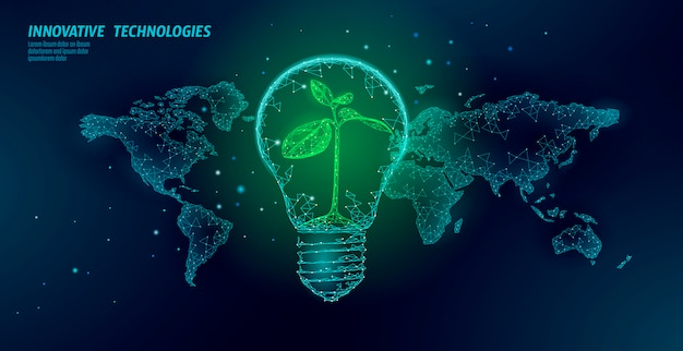 世界地図上の小さな植物と電球。ランプ省エネエコロジー環境の芽アイデアコンセプト。多角形の光電気グリーンエネルギー電力苗イラスト