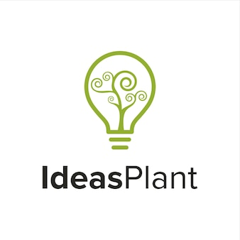 나선형 소용돌이 식물이있는 전구 간단한 창조적 인 기하학적 매끄러운 현대 로고 디자인