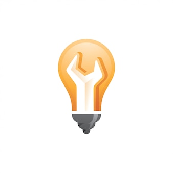 Light bulb and wrench spanner logo