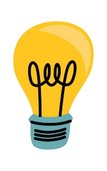 Light bulb yellow glowing cartoon vector illustration, idea symbol