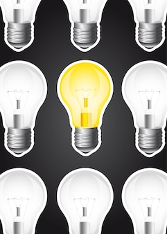Light bulbs over black background vector illustration