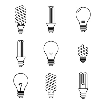 Light bulbs. bulb icon set. isolated on white background. electricity saving