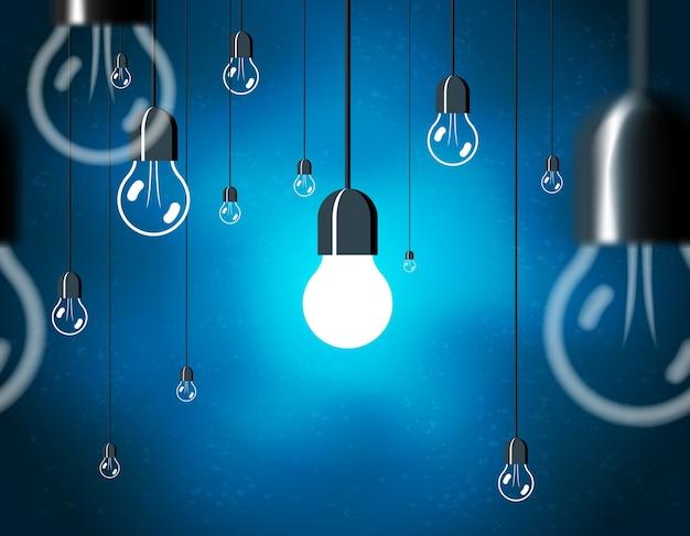 電球、コードにぶら下がっているエネルギー電球