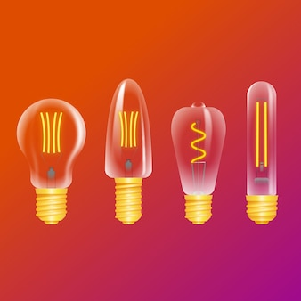 Light bulbs on gradient background