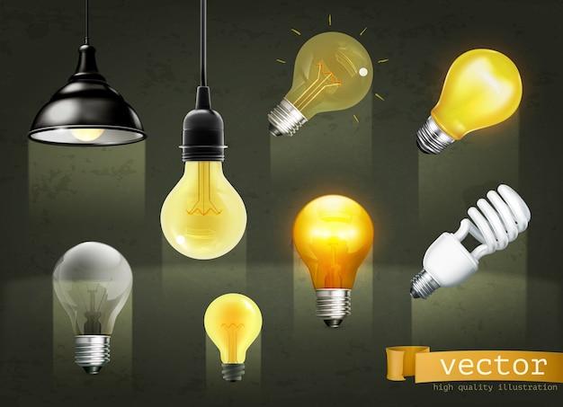 Light bulbs, set of icons