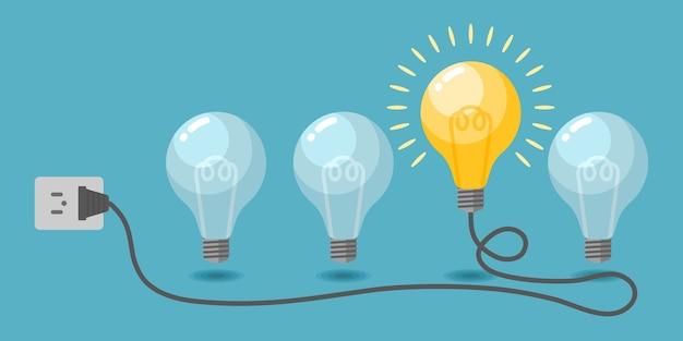 Вектор лампочки. творческая идея