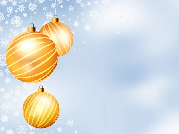 Light christmas backdrop with three balls.   file included