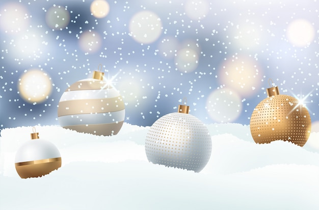 Light christmas background with evening balls.