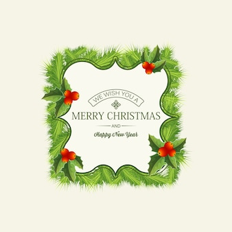 Light christmas card with festive text in elegant frame fir branches and holly berries