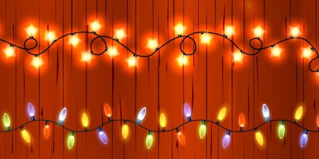 Light christmas garland. bright christmas lights.