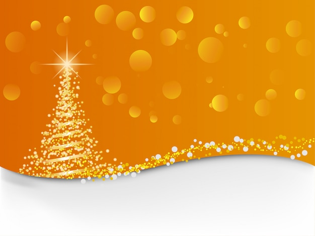 Light christmas tree with orange background