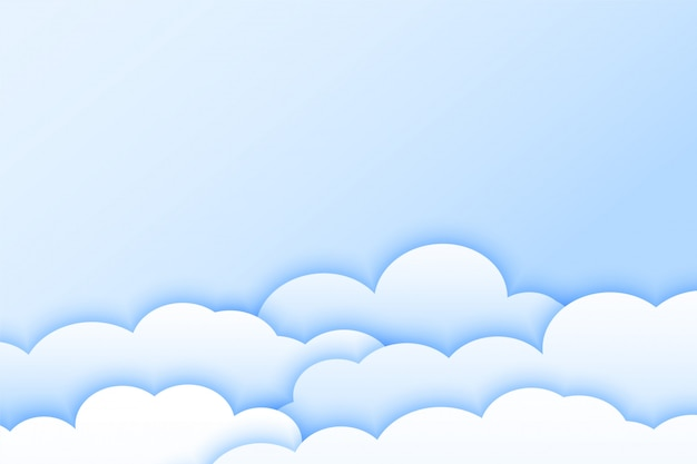 Light color clouds background in papercut style