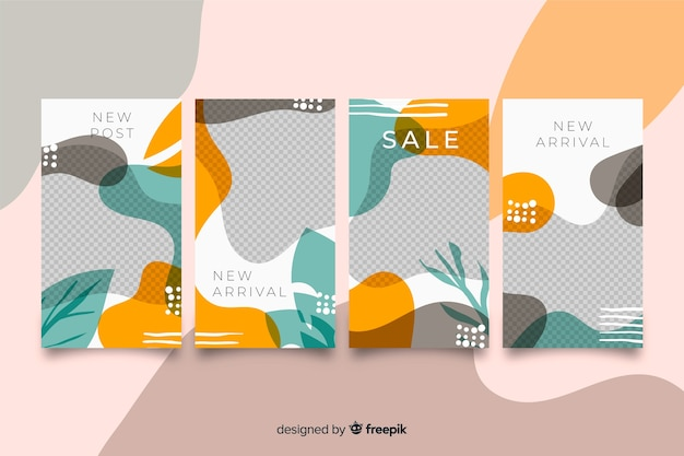 Light colors abstract instagram stories template