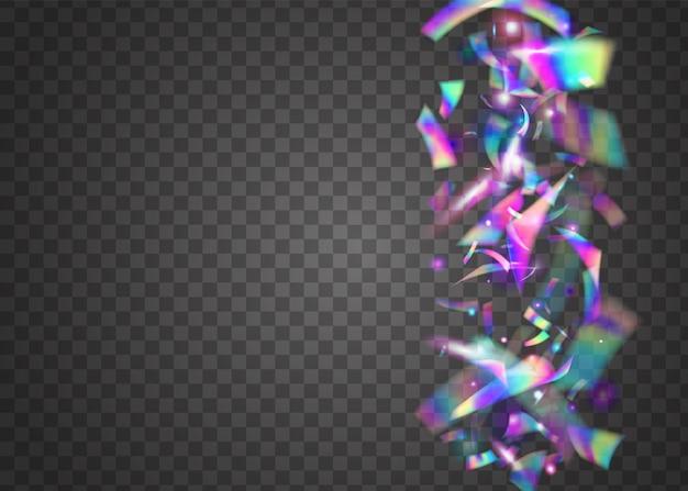Легкое конфетти. disco burst. яркая фольга. радужные искры. праздник искусства. синий металлический блеск. блестящее украшение фестиваля. падающая текстура. фиолетовый свет конфетти