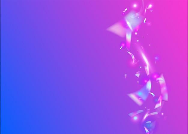 가벼운 색종이 조각. 보라색 디스코 배경입니다. 카니발 틴셀. 모던 호일. 네온 글리터. 초현실적 인 예술. 파티 프리즘 그라디언트. 흐림 배너. 핑크 빛 색종이