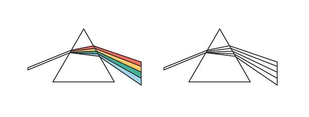 Линейный векторный icon эффект рассеивания и преломления света. дисперсионная призма, стеклянная пирамида, иллюстрация контура треугольного кристалла. научный эксперимент, физика, символ оптики, изолированные на белом.
