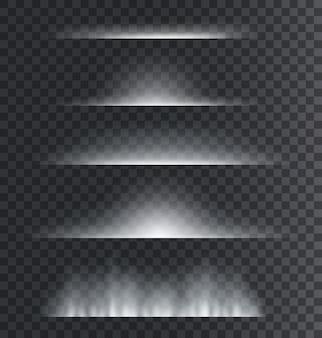 ライトディバイダー。抽象的なレンズフレア、輝く星の光と輝きで輝く境界線。分離セット。フレアボーダーライト、エフェクトグローラインイラスト