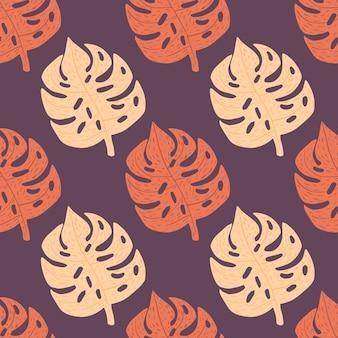 Light and drawk orange monstera leaves seamless pattern.