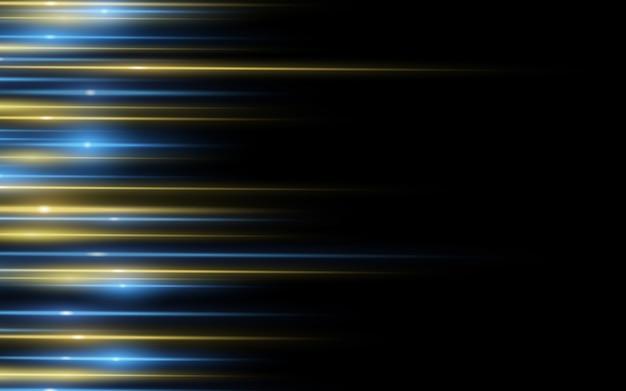 Световой эффект абстрактная предпосылка желтых голубых лазерных лучей света на черной предпосылке.