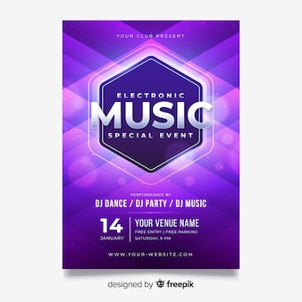 Light effect abstract music poster template