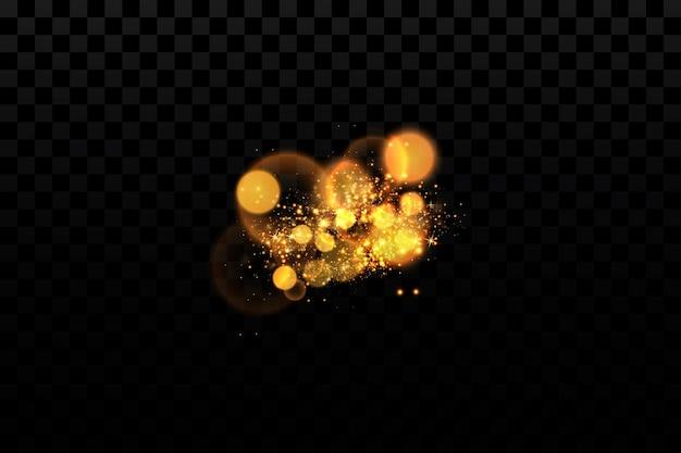 光の効果輝く粒子の背景透明な背景のきらびやかな要素