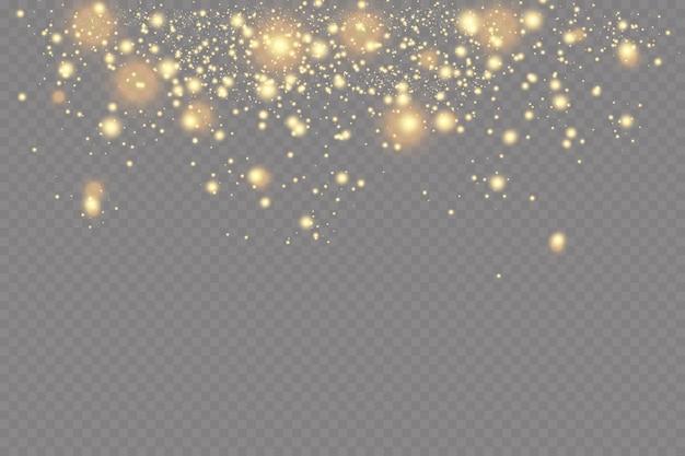 조명 효과. 반짝이는 입자의 배경. 투명 배경에 빛나는 요소.