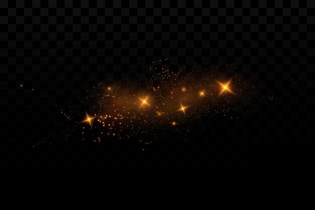 반짝이는 입자의 조명 효과 배경 투명 배경에 빛나는 요소
