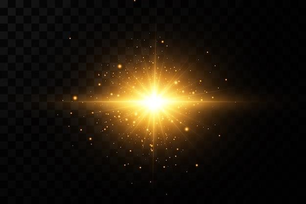 Световой эффект яркая звезда свет взрывается на прозрачном фоне яркое солнце