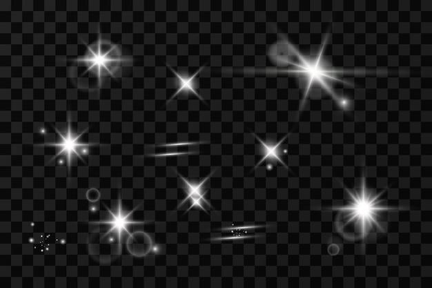 光の効果。輝く星。透明な背景で光が爆発します。まぶしい太陽