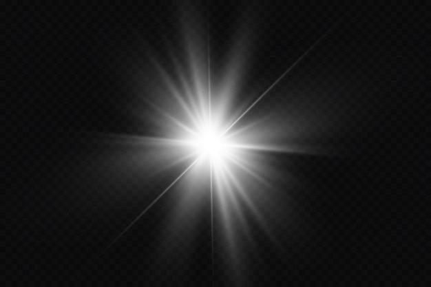 光の効果明るい星の光は透明な背景で爆発します明るい太陽 Premiumベクター