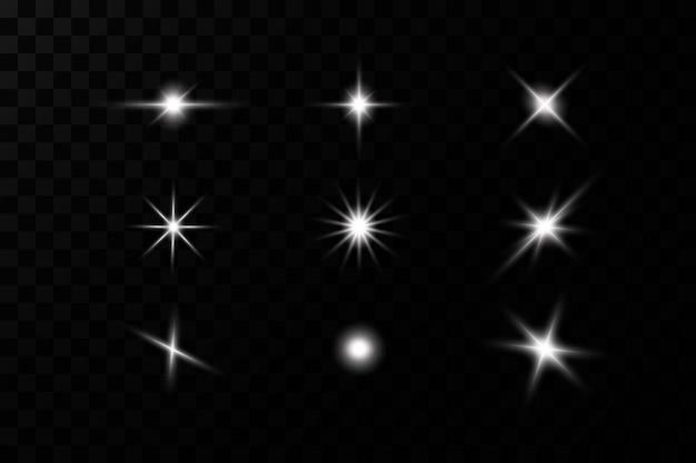 Световой эффект. яркая звезда. свет взрывается на прозрачном.