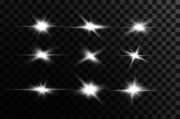 光の効果ブライトスターライトは透明で爆発します Premiumベクター