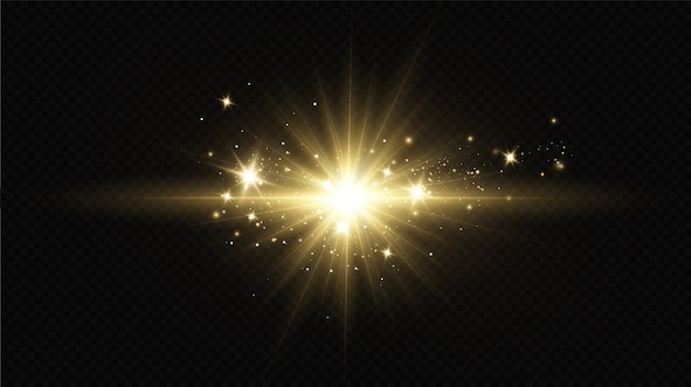 Light effect. bright star. light explodes on a transparent background. bright sun.