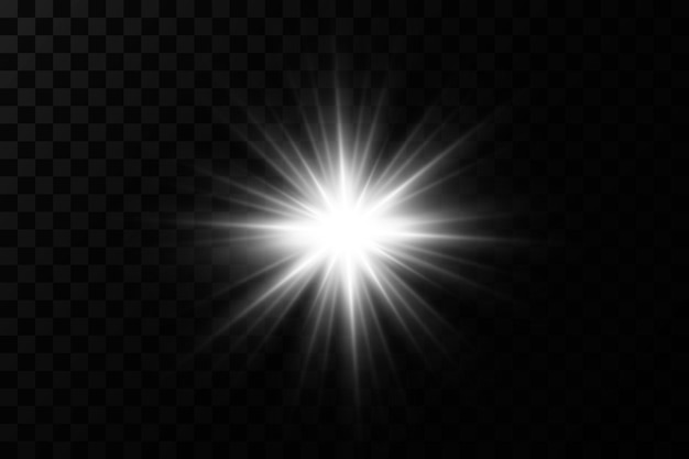 Light effect bright star light explodes on a transparent background bright sun