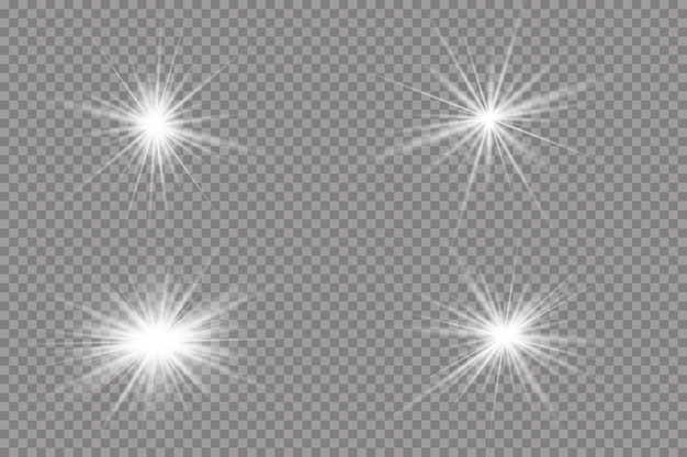 Light effect. bright star.light explodes on a transparent