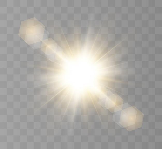 光の効果、明るい星、明るい太陽。