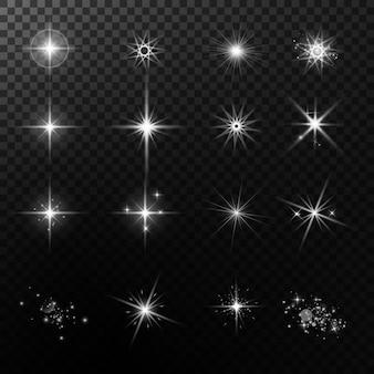 조명 효과. 밝은 별. 빛나는 불빛.