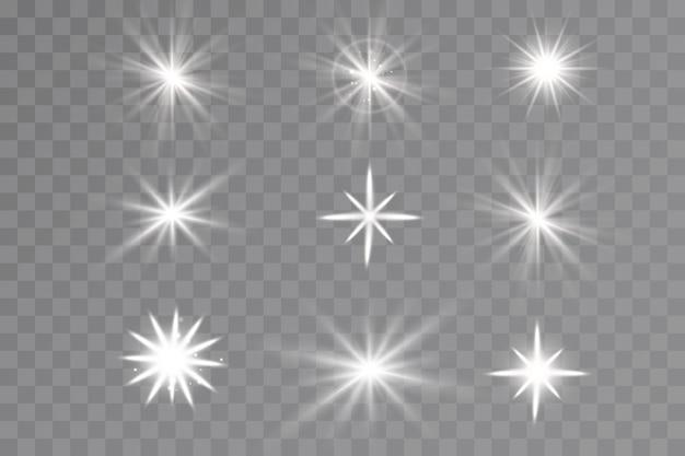 Световой эффект. яркие звезды. светящиеся огни.