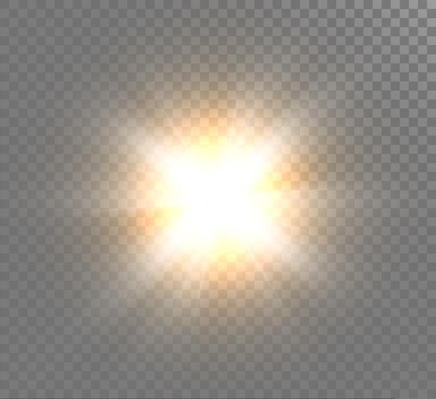 光の効果、明るい太陽、新しい星。