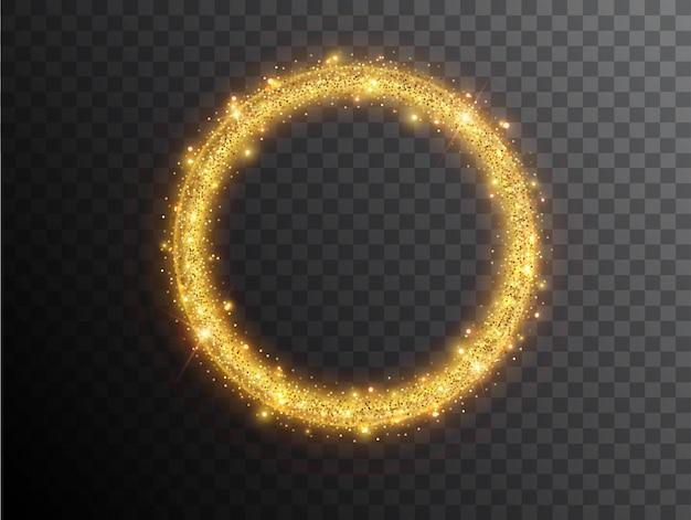 검정색 배경에 조명 효과 원 모양입니다. 빛나는 먼지와 눈부심이 있는 금빛 빛나는 네온 원. 빛나는 원. 추상 세련된 조명 효과입니다.