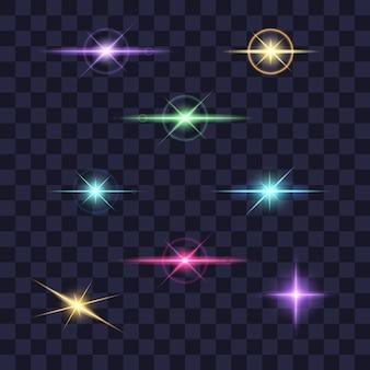 조명 효과 컬렉션, 투명에 다른 색상으로 빛나는 별.
