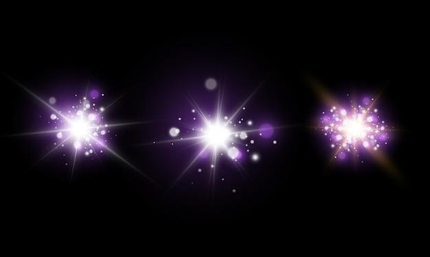 光の効果、宇宙塵、星、まぶしさ。