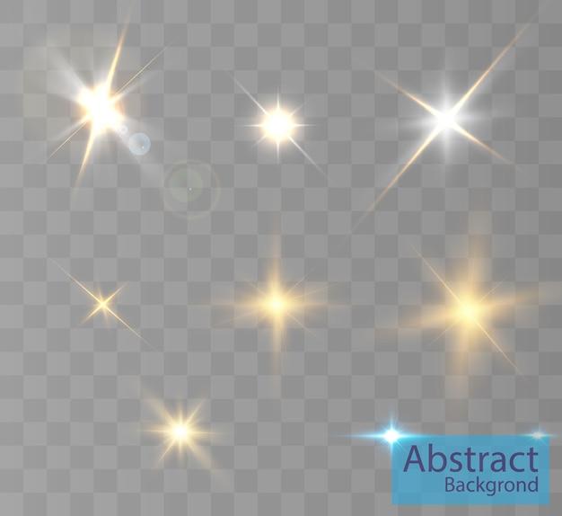 배경 및 삽화에 대한 조명 효과. 새로운 별, 밝은 태양.